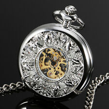 Matte Hand-winding Hollow Chain Luxury Mens Pocket Watch Mechanical Silver Case