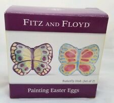 Nib Fitz & Floyd Painting Easter Eggs Butterfly Dish (Set Of 2)