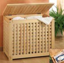 Holz Wäschetruhe Wäschetonne Holztruhe mit Leinensack