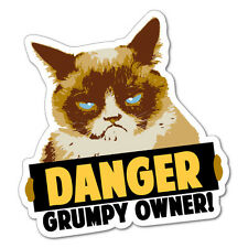 Danger Grumpy Owner Grumpy Cat Sticker Decal Funny Vinyl Car Bumper