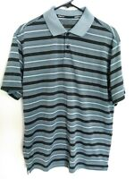 Nike Golf Tour Performance Dri-Fit Men Medium Blue-Gray Black Striped Polo Shirt