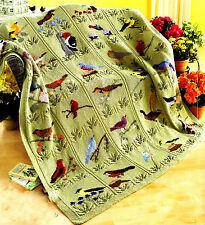 Beautiful Bird Throw Blanket to Knit ~30 birds in Duplicate Stitch  Leaf Design