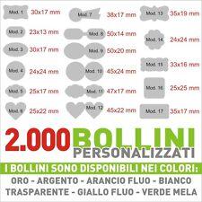 2000 ETICHETTE PERSONALIZZATE - BOLLINI ADESIVI PERSONALIZZATI CON LOGO