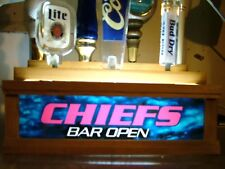 """Lighted 7 tap handle holder with bar sign """"  CHIEFS """""""