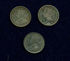 CANADA VICTORIA AND GEORGE V  10 CENTS SILVER COINS: 1874-H, 1913, & 1929