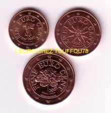 Pièces de 1,2,5cts euros d'Autriche 2002.