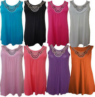 NEW WOMENS PLUS SIZE BEADED SEQUINS STUDDED NECKLINE TUNIC TOPS MINI DRESS 12-26