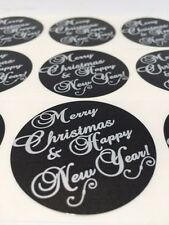 "50 Merry Christmas and Happy New Year 2"" Sticker Silver Foil Paper Seals NEW"