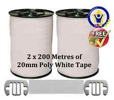 ELECTRIC FENCE TAPE 2 x 200 Metres FENCING 20mm White Poly+FREE TAPE CONNECTORS