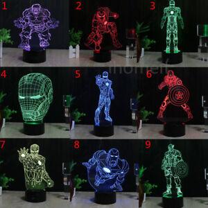 3D LED Marvel Iron Man Captain America Tischlampe Nachtlicht Leselampe Geschenk