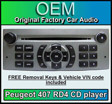 Peugeot 407 MP3 CD player Peugeot RD4 radio + FREE Vin Code and keys