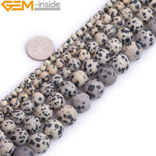 """Natural Gems Frosted Dalmation Jasper Round Beads For Jewelry Making Strand 15"""""""