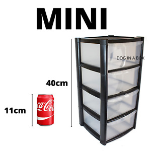 4 Tier MINI Drawers Storage Unit Plastic Office Home Tower Chest Drawer Black