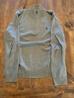 Ralph Lauren Polo L/S 1/4 zip sweater pullover size L gray