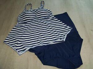 NEW Denim & Co Beach 2 Piece swim dress Size UK 18 Navy/White Stripe