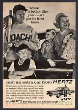 1962 HERTZ RENT A CAR PRINT AD~FATHER COACH BASEBALL GLOVE & BAT~MOTHER DAUGHTER