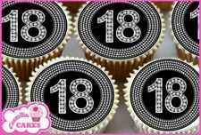 24 x 18TH BLACK & DIAMOND EDIBLE CUPCAKE TOPPERS CAKE WAFER RICE PAPER 8366