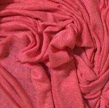 """100% Linen Jersey Knit Fabric By Yard Semi Sheer highend  Coral Pink 58"""""""