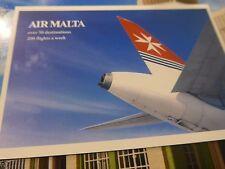Air Malta unused postcard {over 50 destinations 200 flights a week} AirMalta.com