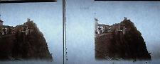 Photographie stéréoscopique ancienne falaise en Corse vers 1920 Corsica village