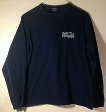 Nautica Men's Long Sleeve T-Shirt Navy Blue Spell out Size: M Medium