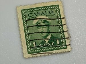 1943 CANADA 1 CENT POSTES / POSTAGE STAMP - SC # 250 Green King George IV/VI