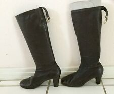 Vintage Womens Ladies Brown Calf High Boots Long Length High Heels Shoe Size 8