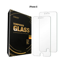 2 X Crazy Premium Tempered Glass Screen Protector for Apple iPhone 7 8