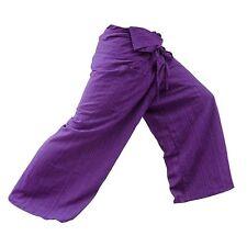 Thai Fisherman Pants Yoga Trousers Free Size Plus Size Cotton Purple Stripe