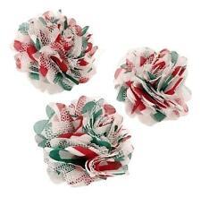 "3 pieces Christmas / white 2"" chiffon & tulle mesh chevron flowers /diy hair bow"