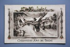R&L Postcard: Greetings Christmas Village Snow Scene, Horse, Windmill Woolworths