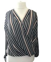 Wallis Wrap Blouse UK 16 Pink Black Stripe Tie Cuffs Brand New Tags V Neck Plus