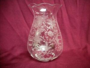 RARE Hurricane Chimney Shade CAMBRIDGE Glass WILDFLOWER Candle Lamp Globe 1 of 2