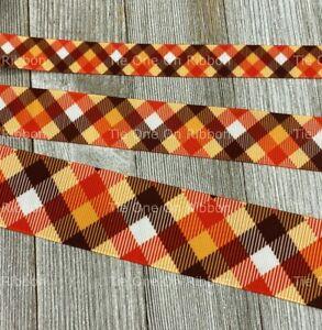 Printed Grosgrain Ribbon 4 Widths in 1/3/5 Yards Fall Autumn Orange Brown Plaid