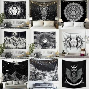 White Black Sun Moon Mandala Tapestry Wall Hanging Celestial Wall Tapestry Decor