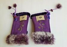 Ugg Purple Fingerless Quirky Mittens Gloves Fur Trim Diamante