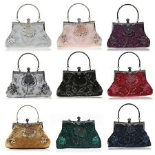 Evening Handbags Floral Pattern Bags Sequins Beaded Clutch Women's Purse Wallets