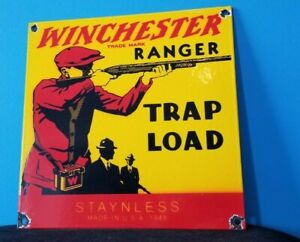 VINTAGE WINCHESTER PORCELAIN LEADER TRAP LOAD SALES AMMO SHOT GUN RANGER SIGN
