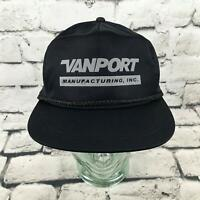 Vintage Vanport Manufacturing Mens One Sz Hat Black Nylon Snapback Trucker Cap
