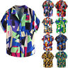 Brief Men's Geometric Print Turn Down Collar Short Sleeve Loose Shirts Blouse Ne