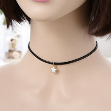 Vintage Gothic Black Leather Cord Choker Collar Necklace Charm Pendant Jewelry