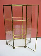 Vintage Glass and Brass DISPLAY Shelf Case Box 26.5 cms High Miniatures / Curios