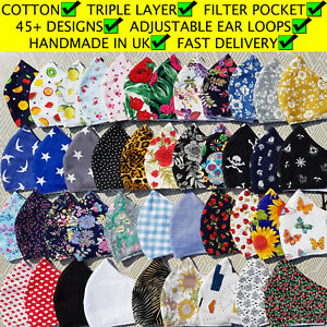 Face mask cotton washable triple layer with filter pocket adjustable handmade