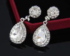 Beautiful Austrian Rhinestone Crystal Platinum Plated Dangle Drop Earrings