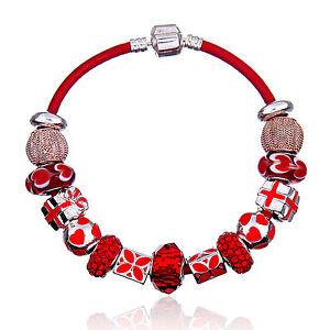 MC Silver Red Enamel Present Flower Murano Beads Charm European Lace Bracelet