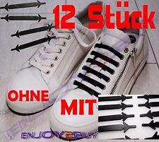 12x Schnürsenkel Elastisch Silikon Gummi Schwarz Schuhe Kein Schnüren mehr