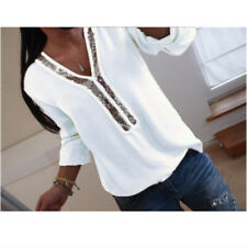 Ladies Women Sequins Plus Size Office Top Blouse V Neck Casual Loose T-Shirt Tee