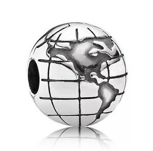 Silver tone Globe Charm - Earth Charm Bead