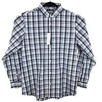NWT Mizzen + Main Leeward Navy Plaid Long Sleeve Shirt Mens XXL 2XL Trim Fit