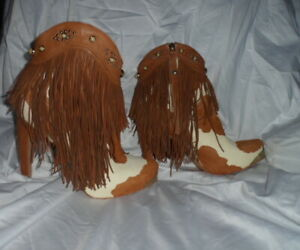 Sam Elerman Brown & White Cow Hide Look Fringed Boots W/Silver Studs 8.5M - NWOT